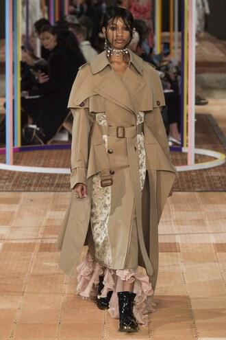 coat runway alexander mcqueen paris fashion week 2017 camel asymmetrical