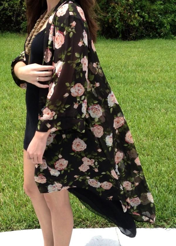 jacket kimono floral kimono kimono jacket kimono floral flowers black rose