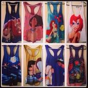 shirt,princess,tank top,disney,pocahonta,the little mermaid,snow white,lion king,Pocahontas,peter pan,Jasmine,alladin,aladdin,disney princess