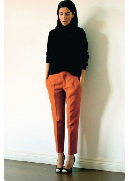 Pants Orange Cigarette Pants Fall Colors Fall Outfits Rust - Wheretoget