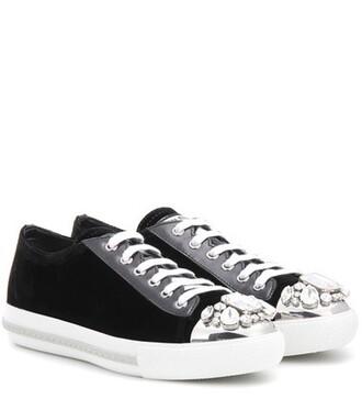 embellished sneakers velvet black shoes