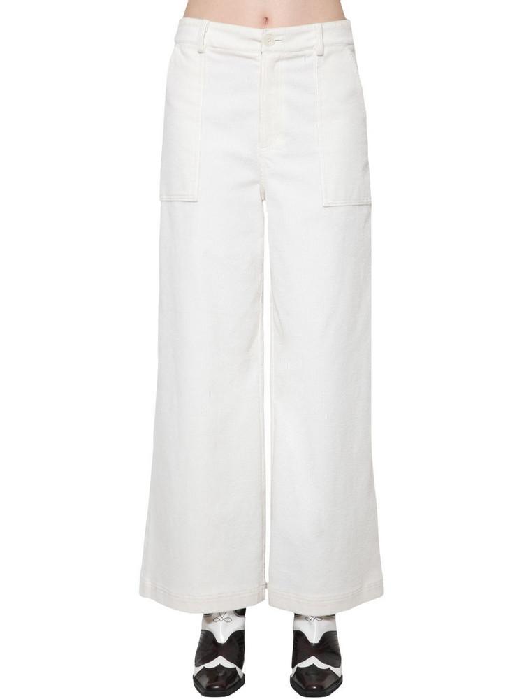 GANNI Cotton Corduroy Wide Leg Pants in white