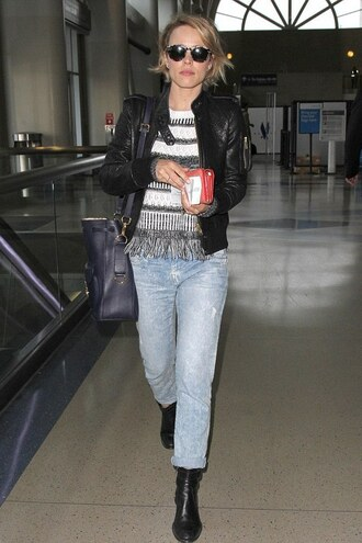 sweater rachel mc adams jeans denim jacket