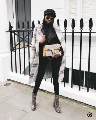 coat tumblr white coat plaid plaid coat bag top black top jeans black jeans skinny jeans boots ankle boots hat fisherman cap