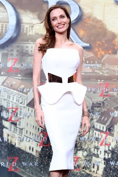 angelina jolie white dress white gold