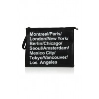 Leather cities print clutch
