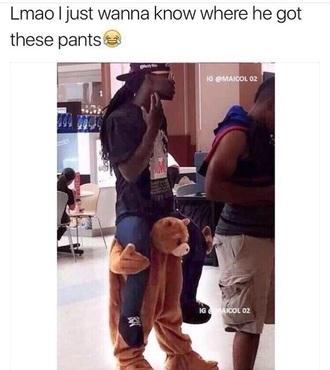 pants ted bear bear pants black brown shoes