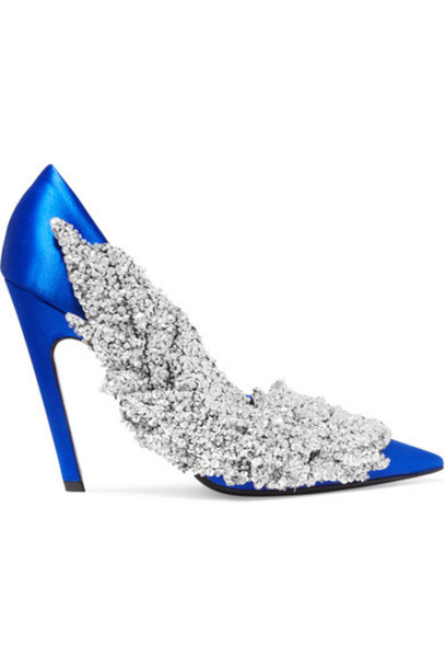 Balenciaga - Sequin-embellished Satin Pumps - Bright blue