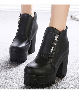 shoes boots zip booties black black boots platform shoes winter outfits grunge goth heels ankle boots platform lace up boots