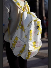 bag,pink wings,bart simpson,backpack,white