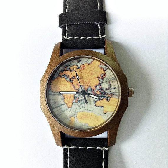 Map Watch Vintage Style Leather Watch Women Men by FreeForme