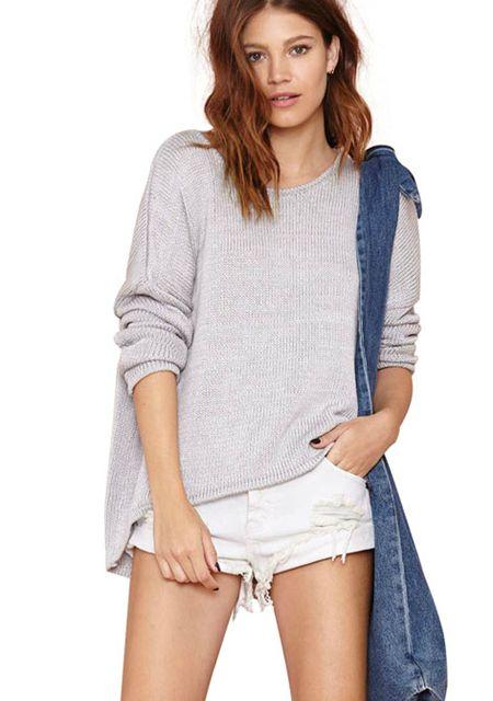 Women's loose asymmetric horizonal collar knitwear online