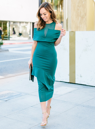 sydne summer's fashion reviews & style tips blogger dress jewels bag shoes midi dress green dress clutch sandals high heel sandals