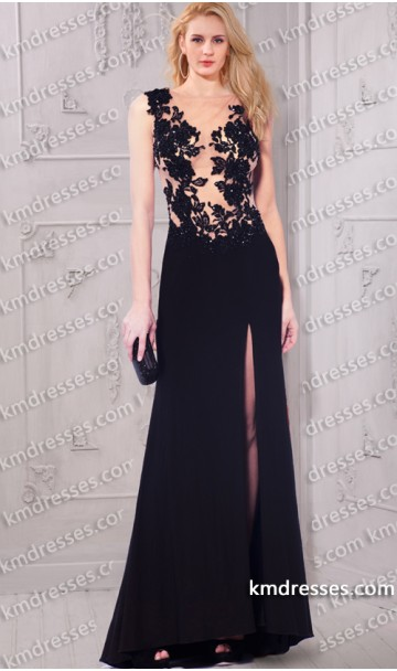 alluring sheeri illusion sleeveless v-neck lace appliques thigh-high slit dress