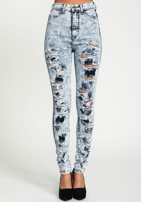 Reckless Shredded High Waist Jeans - Love Culture