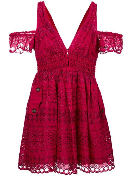 self-portrait dress women cotton red