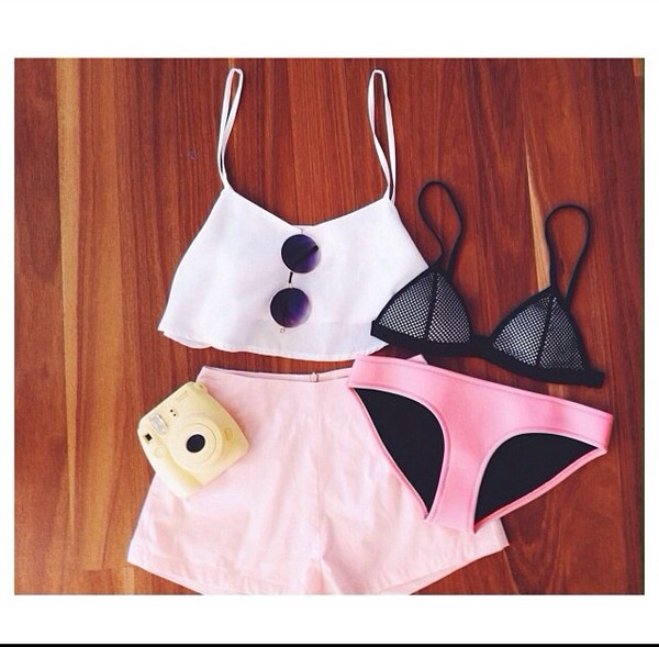 shorts pink small short pink shorts cute light pink underwear sunglasses belt tank top swimwear
