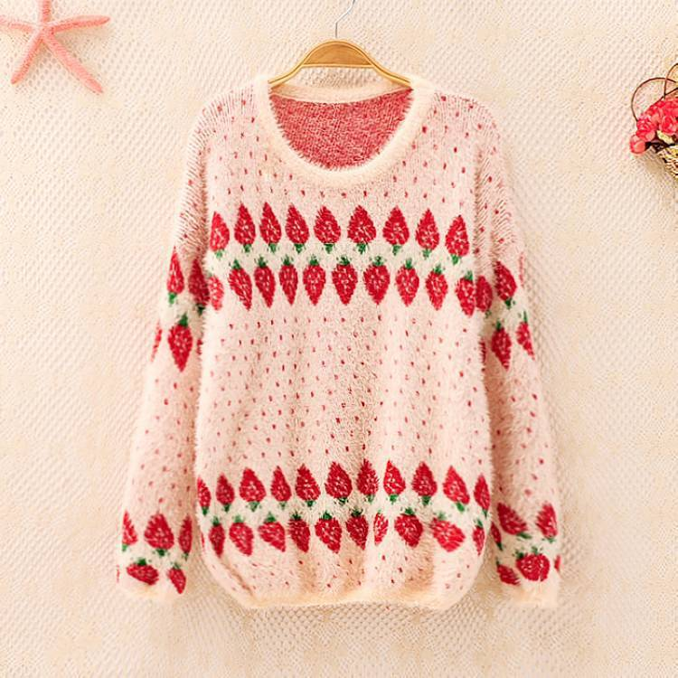 New Fashion 2014 Girls Autumn Winter Casual Strawberries Dot Print Elegant Loose Long Sleeve Top Sweaters Free Shipping Y051348-in Pullovers from Apparel & Accessories on Aliexpress.com