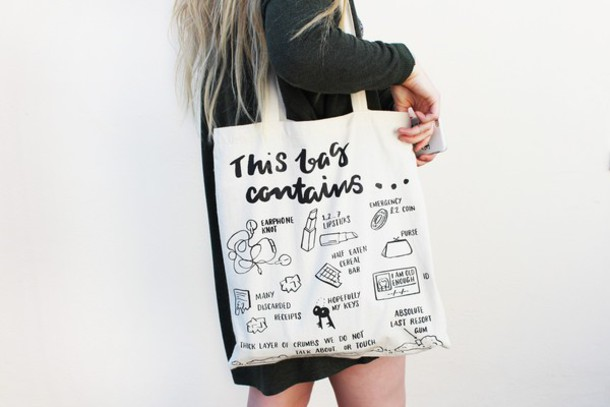 Bag: tote bag, black, white, tumblr, tumblr outfit, hipster ...