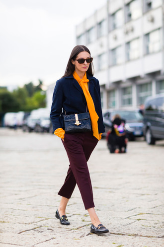 jacket yellow shirt fashion week street style fashion week 2016 fashion week milan fashion week 2016 yellow shirt blue jacket blue dark blue burgundy burgundy pants flats gucci princetown gucci gucci shoes black shoes bag black bag sunglasses streetstyle
