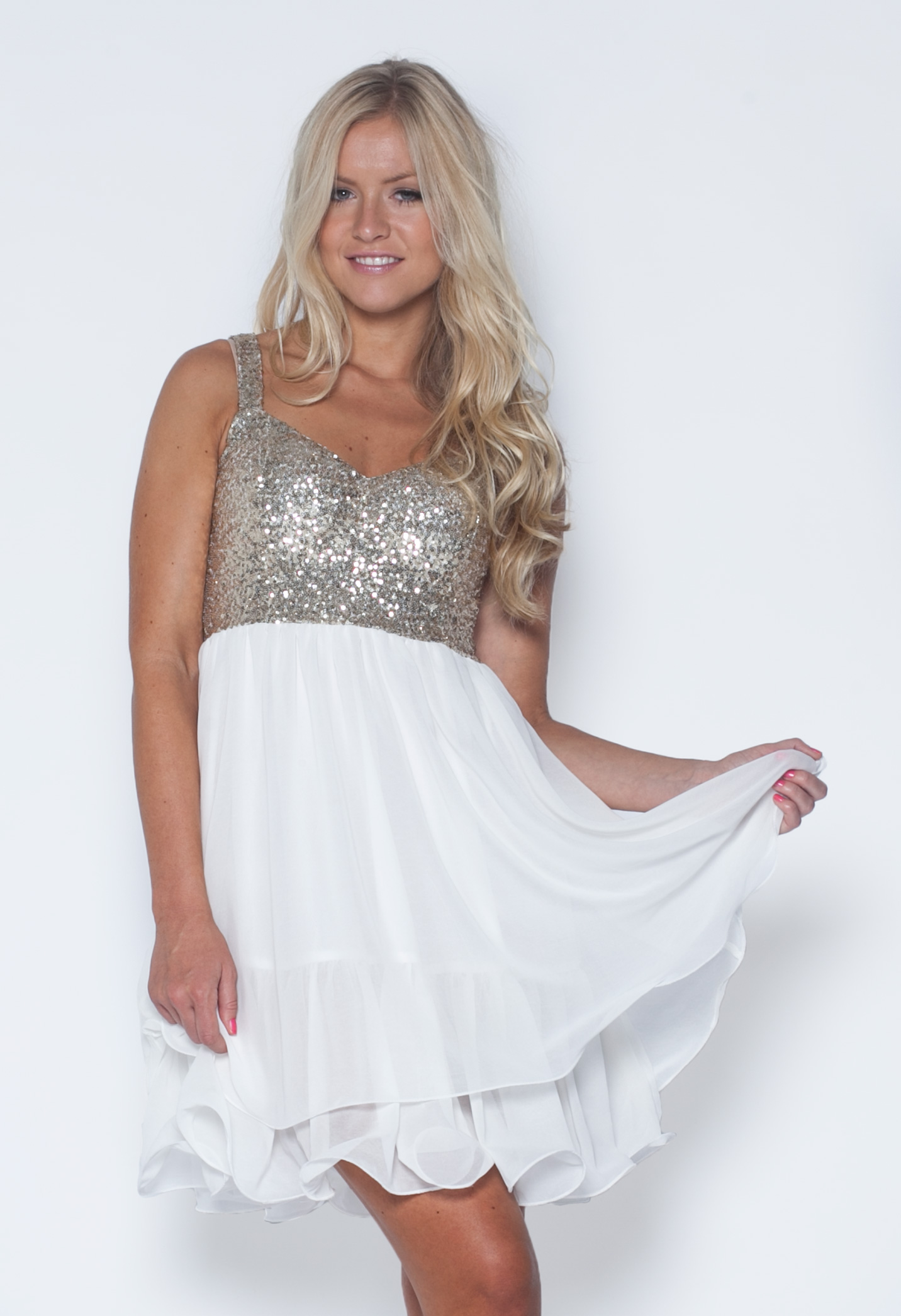 Sequin Dress - White Skater Dress with Sequin | UsTrendy