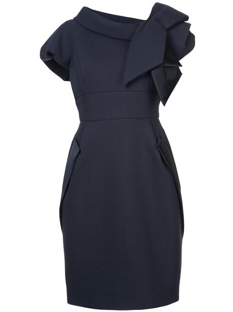 DICE KAYEK dress bow women blue silk wool