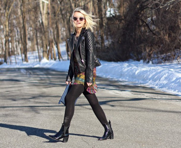 platinum and penniless blogger dress chelsea boots leather jacket tights bag sunglasses jewels