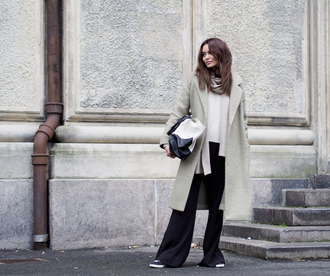 by funda blogger scarf bag wide-leg pants winter coat winter outfits coat sweater pants shoes streetstyle celine bag ganni