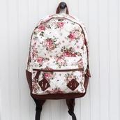 bag,floral print bag,suede,floral,backpack,brown,white,pink,green dress,straps