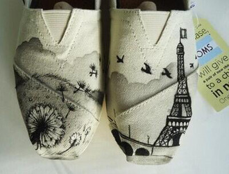 shoes white shoes cute shoes flats lovely paris french france eiffel tower flowers floral short jeans little black dress little dress toms