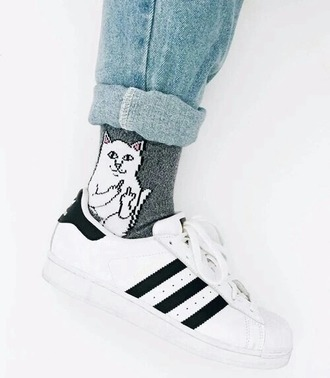 socks cats urban white grey printed funny blouse