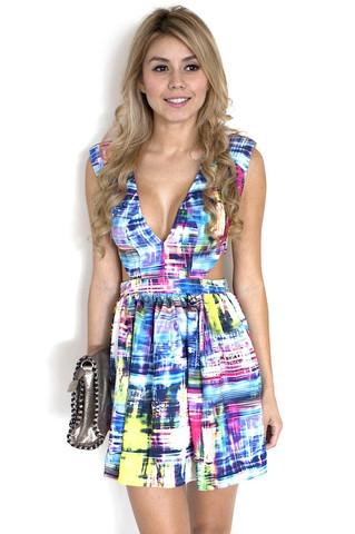 Cyber multi printed dress