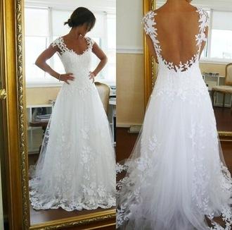 dress white white dress prom dress wedding dress long dress floral lace white lace