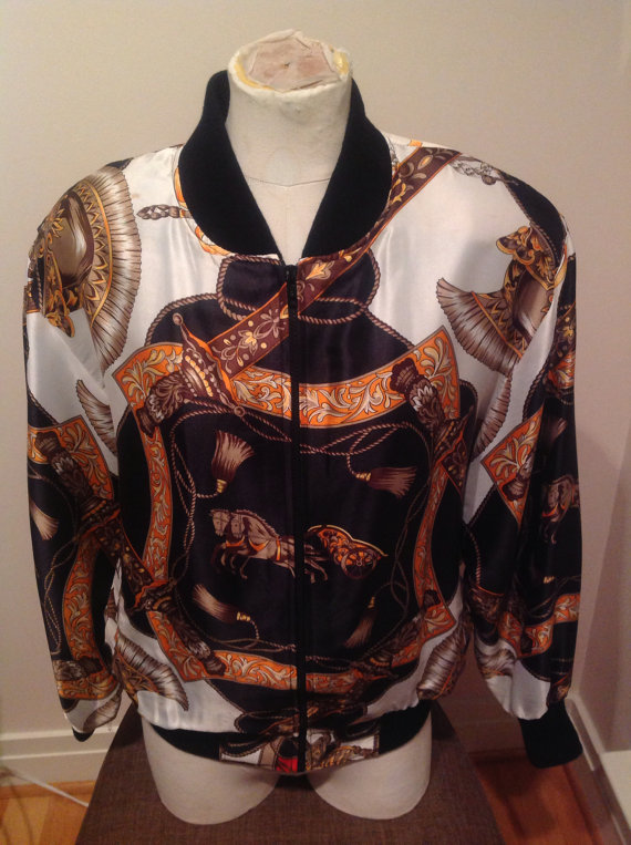 Silky Versacelike Horse and Chariot Bomber by IFoundThatVintage