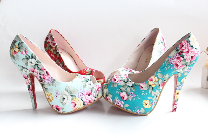 plus size 43 size 13cm ultra high heels open toe waterproof vintage cotton prints flower woman pumps shoes sandals-inPumps from Shoes on Aliexpress.com