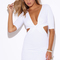 Shop white deep v neck knot front cut out open back fitted bodycon club mini dress
