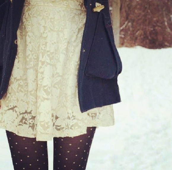 underwear clothes tights black black tights pantyhose dress winter outfits cute dress beige dress white dress creme dress beige white creme winter dresses black panty hose panty hose jacket coat winter coat marine cute