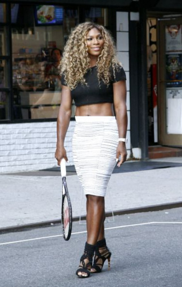 skirt top Serena Williams jewels watch shoes