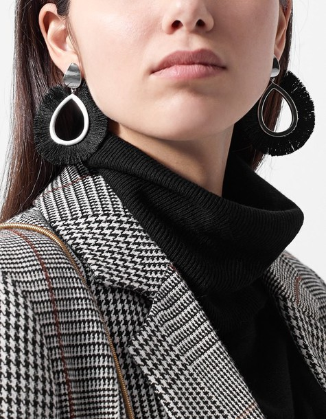 Stradivarius earrings hoop earrings black jewels