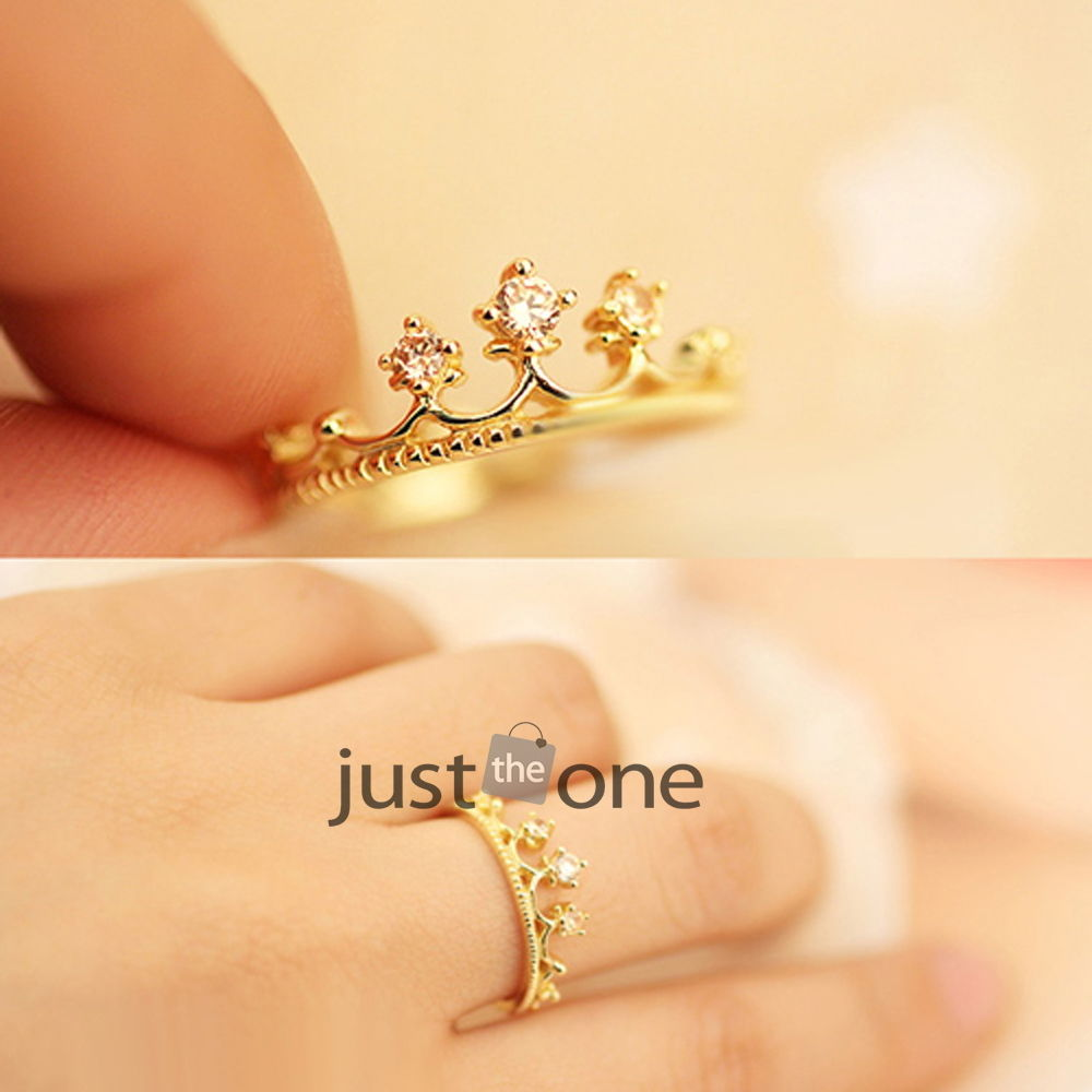 Womens Girls Fashion Alloy Shiny Rhinestones Chic Crown Style Mini Finger Ring | eBay