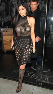 skirt,mesh,mesh top,bodysuit,black,kylie jenner,kardashians,booties,fishnet top,top