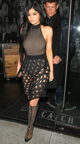 skirt mesh mesh top bodysuit black kylie jenner kardashians booties fishnet top top