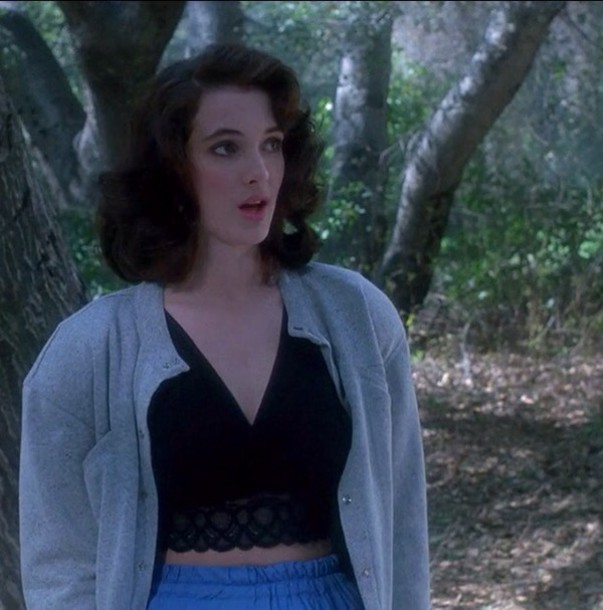 top veronica sawyer winona ryder heathers bralette black top lace top