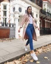 coat,trench coat,jeans,high waisted jeans,cropped jeans,white sneakers,white t-shirt,sunglasses