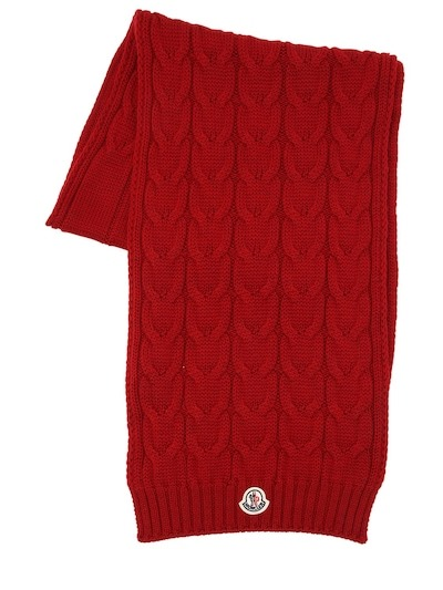 MONCLER Wool Knit Scarf Red