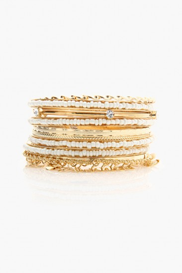 LoveMelrose.com From Harry & Molly | MULTI GLITZ BRACELET SET - Gold / White