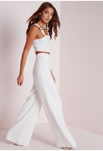 Missguided - Premium Crepe Wide Leg Trousers White