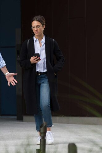 shirt jeans jessica alba streetstyle coat
