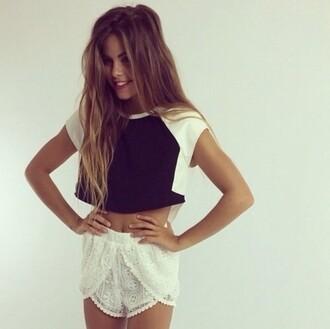 shorts lace white shirt model brunette