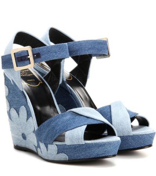 Roger Vivier denim patchwork sandals wedge sandals blue shoes